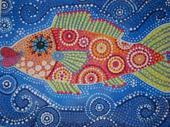 Dot painted fish... great project for beginning of the year that leads into lines and shapes