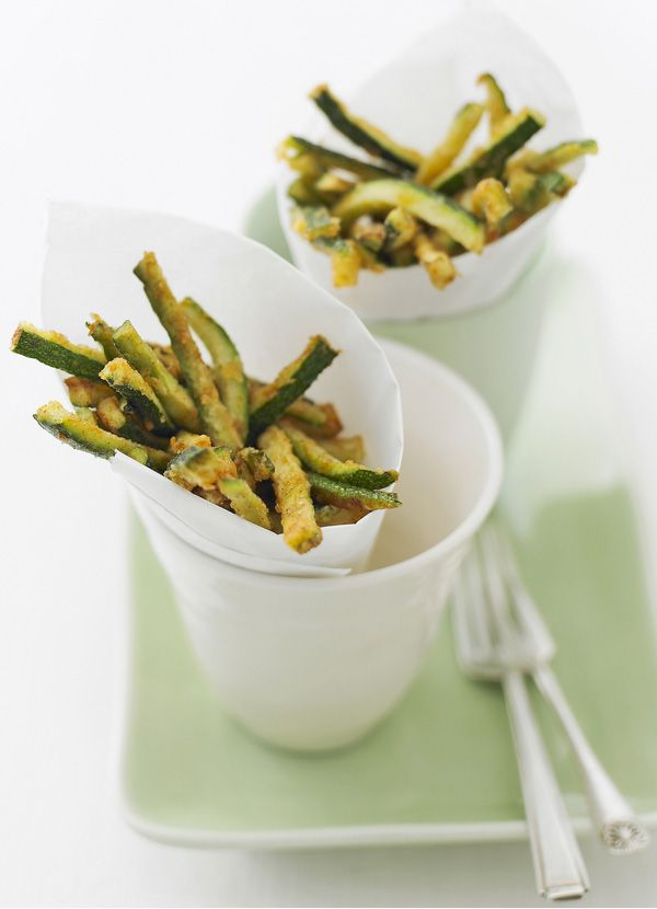 Courgette fritti - these make a delicious, healthy alternative to chips. Serve with steak or just as a nibble with drinks. Beware - this recipe is highly addictive!