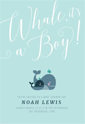"""Whale It's a Boy"" printable invitation template. Customize, add text and photos. Print or download for free!"