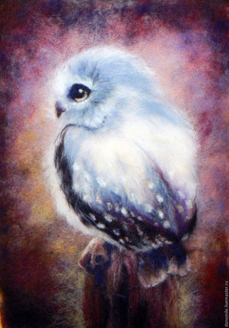 """Купить Картина из шерсти """"Совушка"""" - комбинированный, картина из шерсти сова, картина из шерсти в офис"""