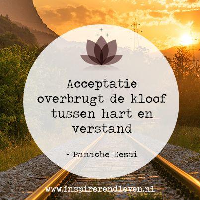 #Inspiratie #Wijsheden #Quote #Panache Desai - Acceptatie overbrugt de kloof tussen hart en verstand