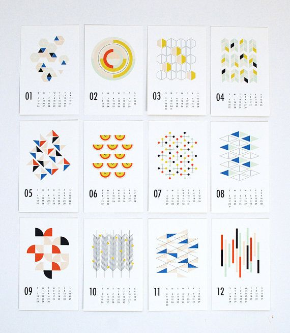 2014 wall calendar shapes by dozi on Etsy