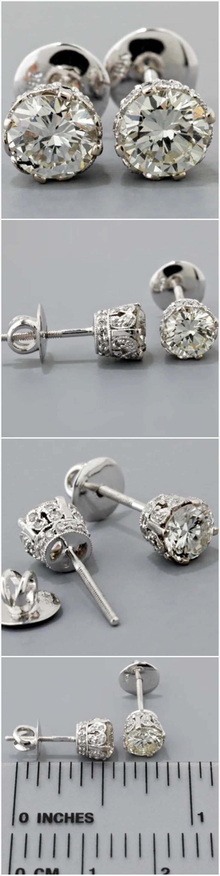 Diamond  Stud Earrings Antique Edwardian Style Gold @ http://www.faycullen.com/products/C130E1D/