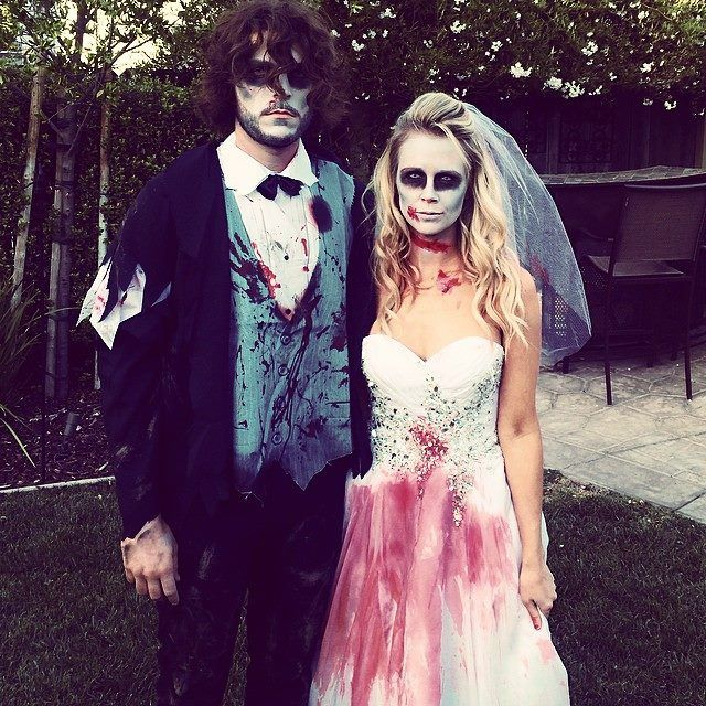 Zombie corpse bride and groom couples costume. Happy Halloween.