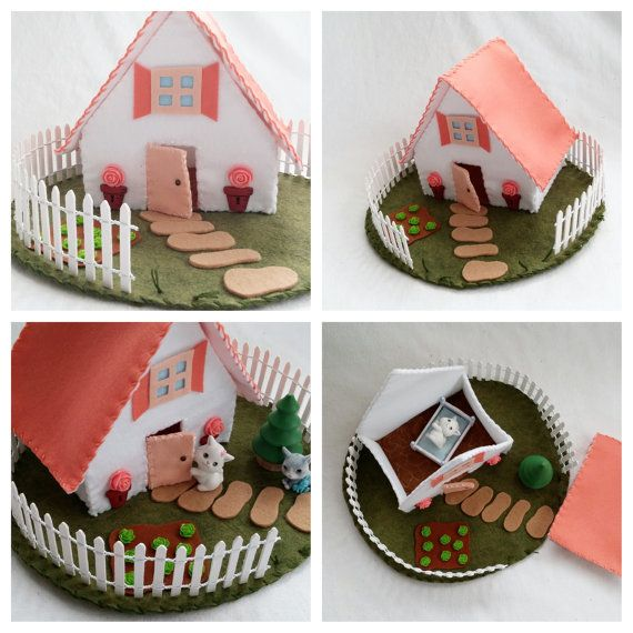 Peach Cottage Playscape Play Mat felt pretend open-ended storytelling fantasy storybook fairytale Dollhouse rose garden toy child house