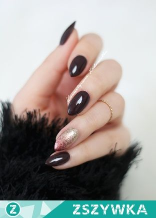 Semilac 076 Black Coffee, and ombre with Semilac 037 Gold Disco and 094 Pink Gold