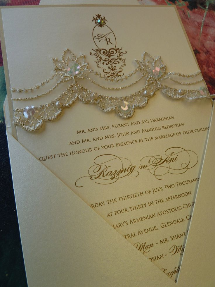 Custom monogram with sequenced champagne lace by Embellishments Invitations xo