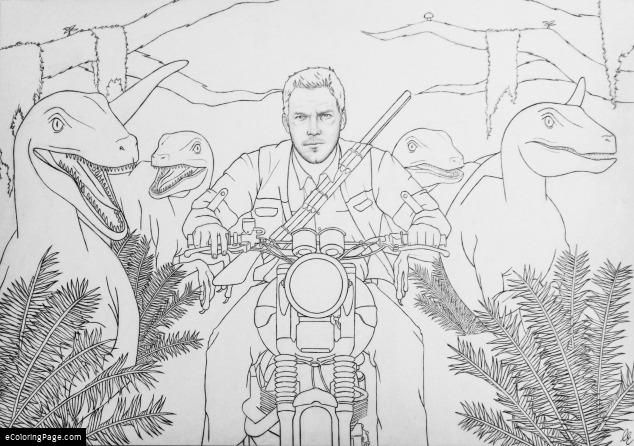 jurassic world chris pratt velociraptors coloring page