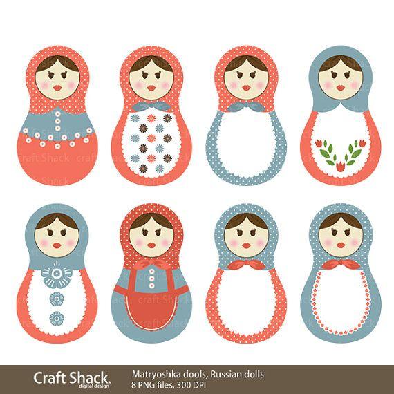 matryoshka dools (Babushka dolls), Russian Digital Clipart