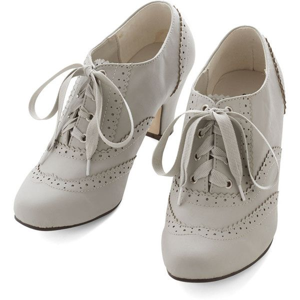 Vintage Inspired Dance Instead of Walking Heel (€18) ❤ liked on Polyvore featuring shoes, heels, boots, grey, pumps, oxford heel, lace oxford shoes, gray heel shoes, mid-heel shoes and oxford shoes