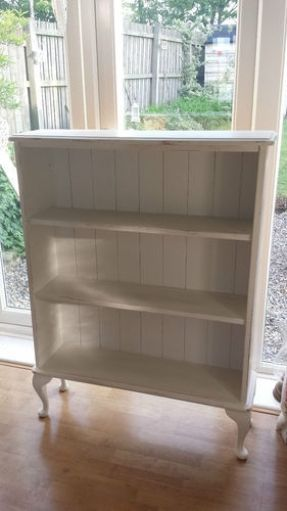Simply replace backs of a bookcase with beadboard, add legs and paint! What a…