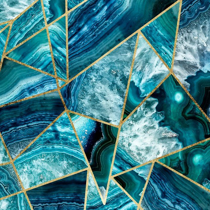 Turquoise Navy Blue Agate Black Gold Geometric Triangles Pillow Sham By Blackstrawberry Sta Blue Marble Wallpaper Blue And Gold Wallpaper Turquoise Wallpaper