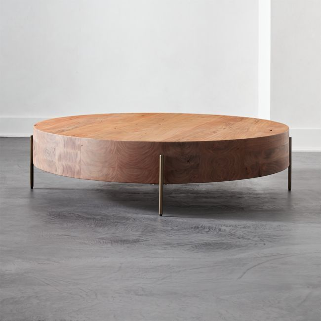 Cb2 August Catalog 2019 Proctor Low Round Wood Coffee Table