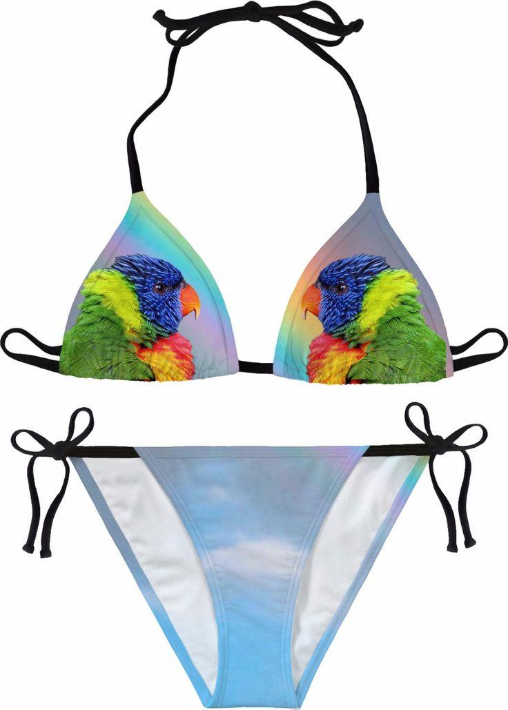 Rainbow Lorikeet Bikini #erikakaisersot #RageOn #bikini #parrots