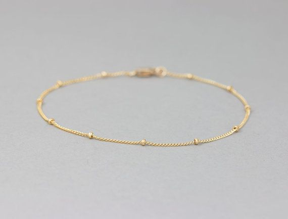 Delicate Gold Bracelet / Dainty Chain Bracelet / Thin Gold Chain / Layering Bracelet / DEW DROPS Bracelet by Layered and Long