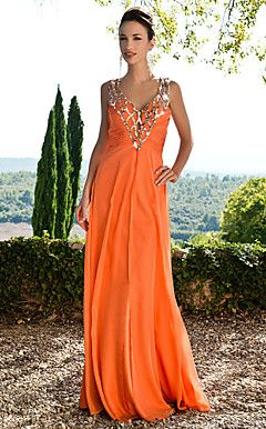 Sheath/Column V-neck Floor-length Chiffon Evening Dress With Sequins