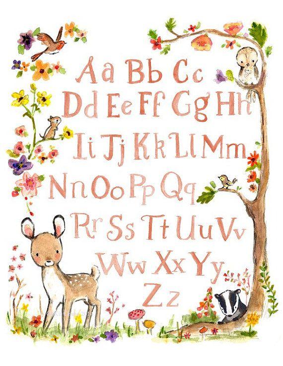 Woodland Nursery Art--DEER ALPHABET--by Kit Chase