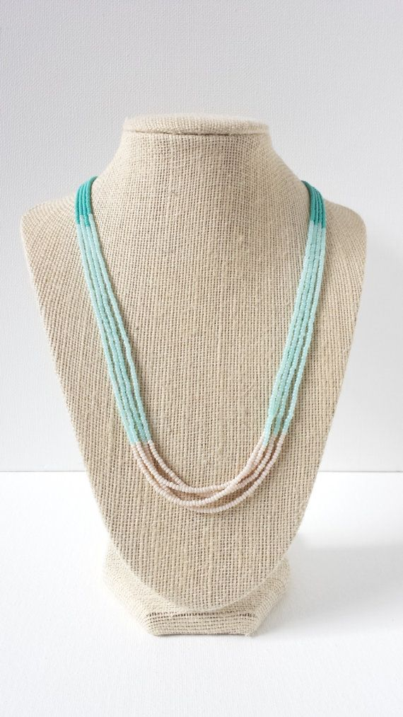 Ombre turquoise necklace mint necklace cream by StephanieMartinCo, $12.00