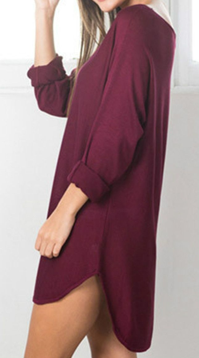 Cozy fabric knit dress designed with solid color, round neck, long sleeve, high low design and loose fit. More color at oasap.com