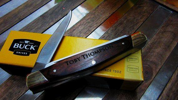 Personalized Buck Knife Groomsmen Gifts Engraved by KnifeEngraving