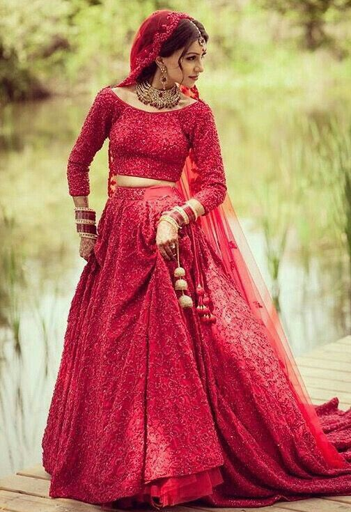 Sparkly red lengha