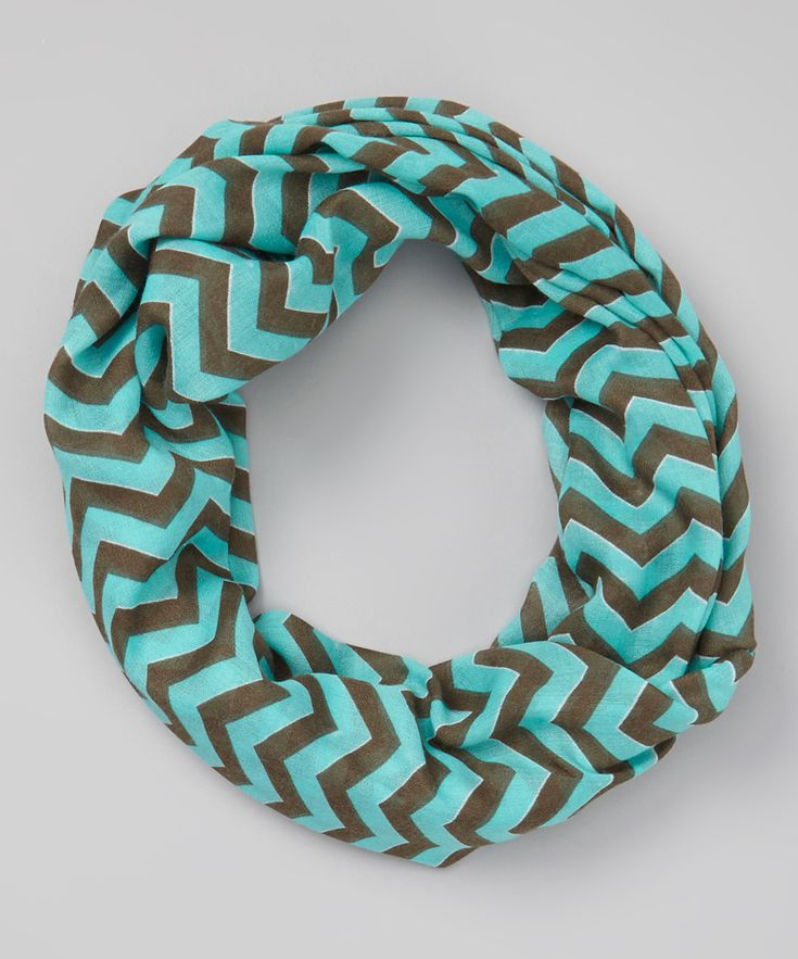 Light Teal & Brown Zigzag Infinity Scarf