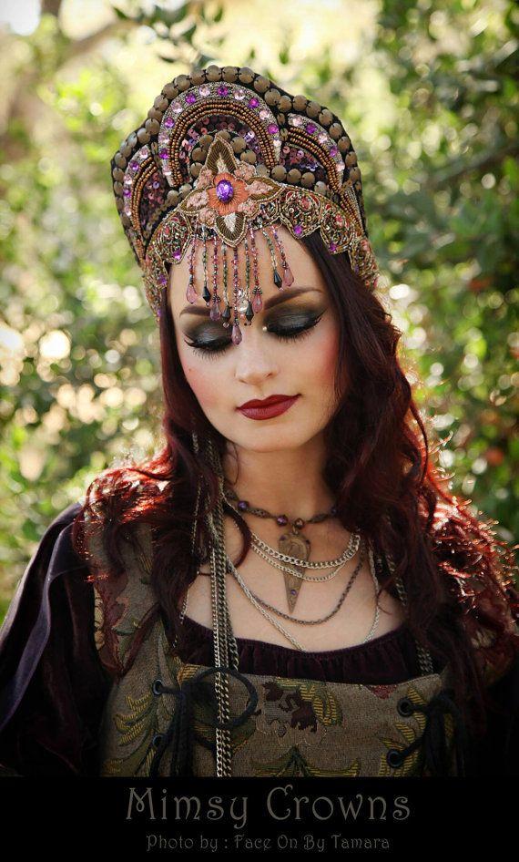 SALE Fantasy Belly Dance Renaissance Crystals tribal  Medieval Faire Maiden Fairy Costume Headdress Headpiece Crown  Princess Queen