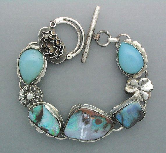 Temi Kucinski Handmade Sterling Silver Blue Opal Bracelet Via