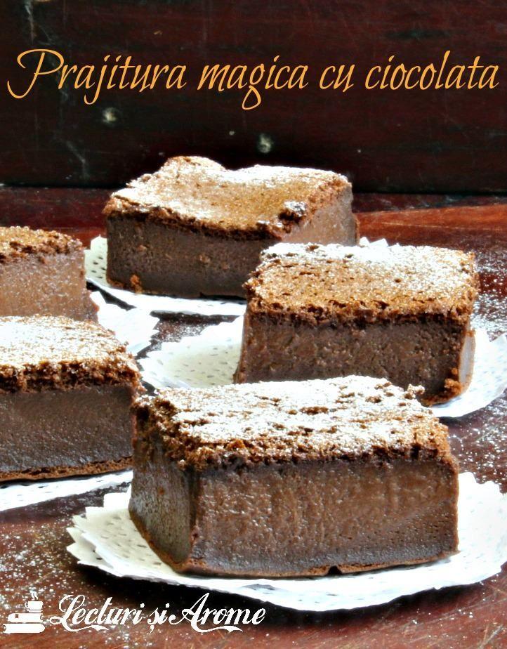 Prăjitură magică cu ciocolată. Sau, o altfel de prăjitură inteligentă. De data asta cu cacao înauntru, ceea ce îi dă un aspect de ciocolată.