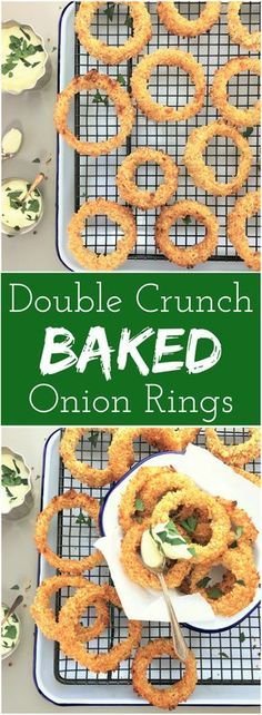 Double crunch BAKED onion rings | oven baked | crunchy onion rings | beer battered