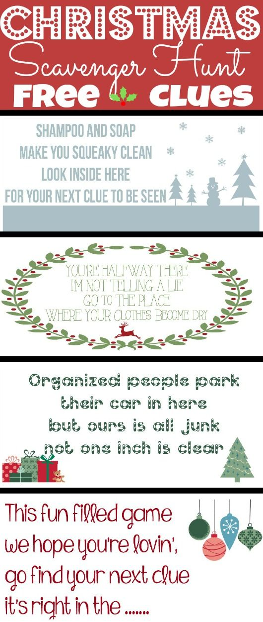 Christmas Scavenger Hunt Clues