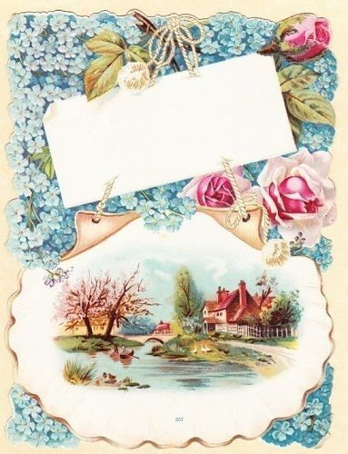 LARGE-VICTORIAN-DIE-CUT-SCRAP-PICTURE-CARD-WATER-SCENE-HOUSE-GEESE-TREE-9-X-7