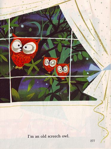 Little Golden Books owl illustration by Mary Blair c. 1950 from I Can Fly by Ruth Krauss (via letslookupandsmile)