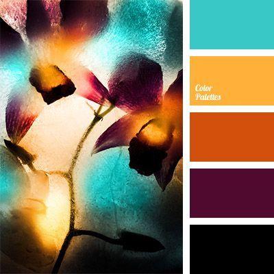 color palette blauw geel oranje paars zwart