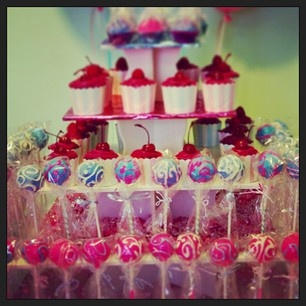 Our Limonada cake pops featured on our Cupcake/Cake Pop display.