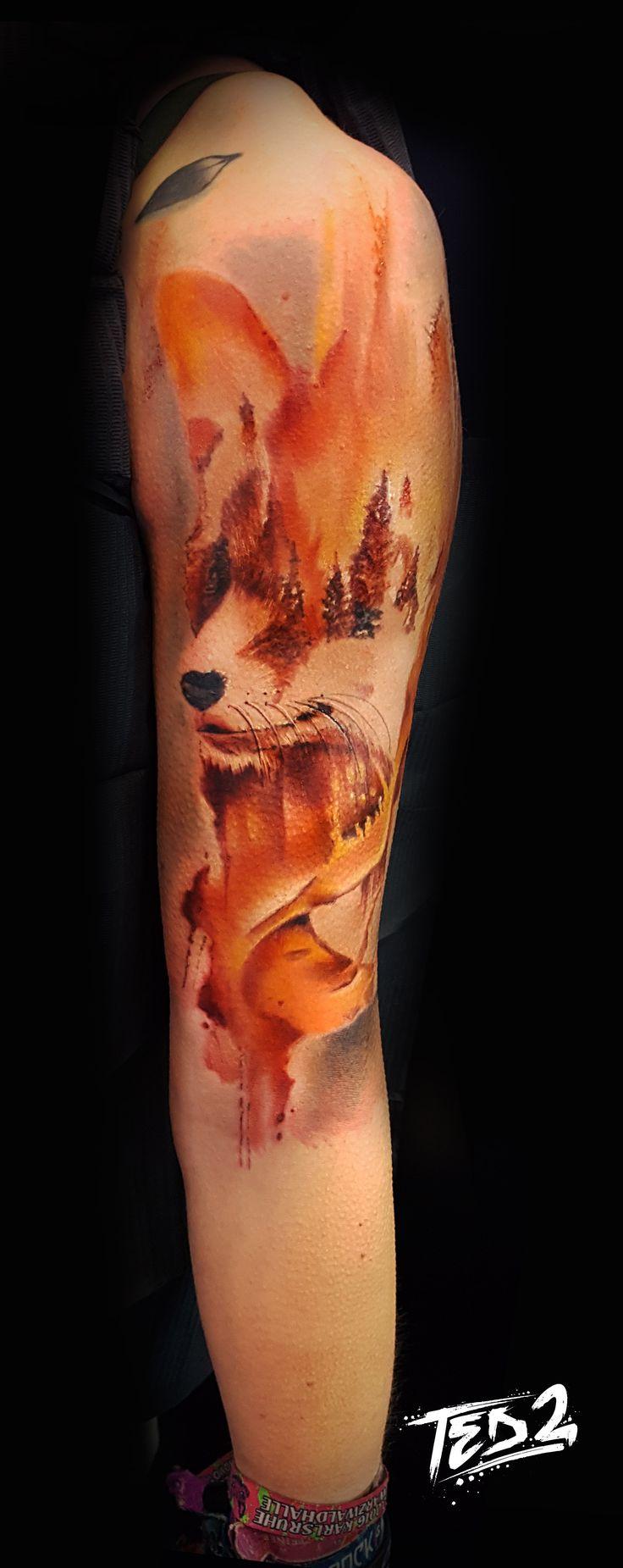 Watercolor Tattoo,Watercolor,Tattoo,watercolour tattoo,fux,fuchs,tattoo,watercolors,colors,ted2,ted bartnik,tattoo colors,tattoo watercolor,tattoo watercolors