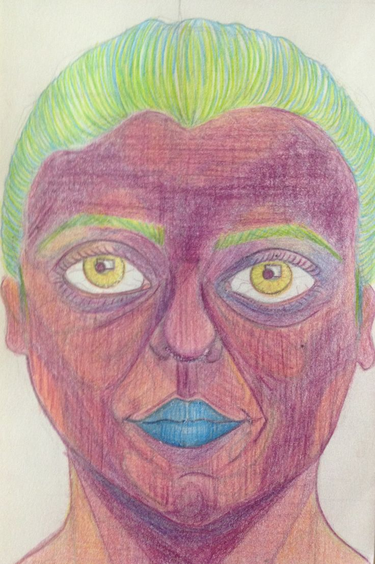 self-portrait color pencils space thing