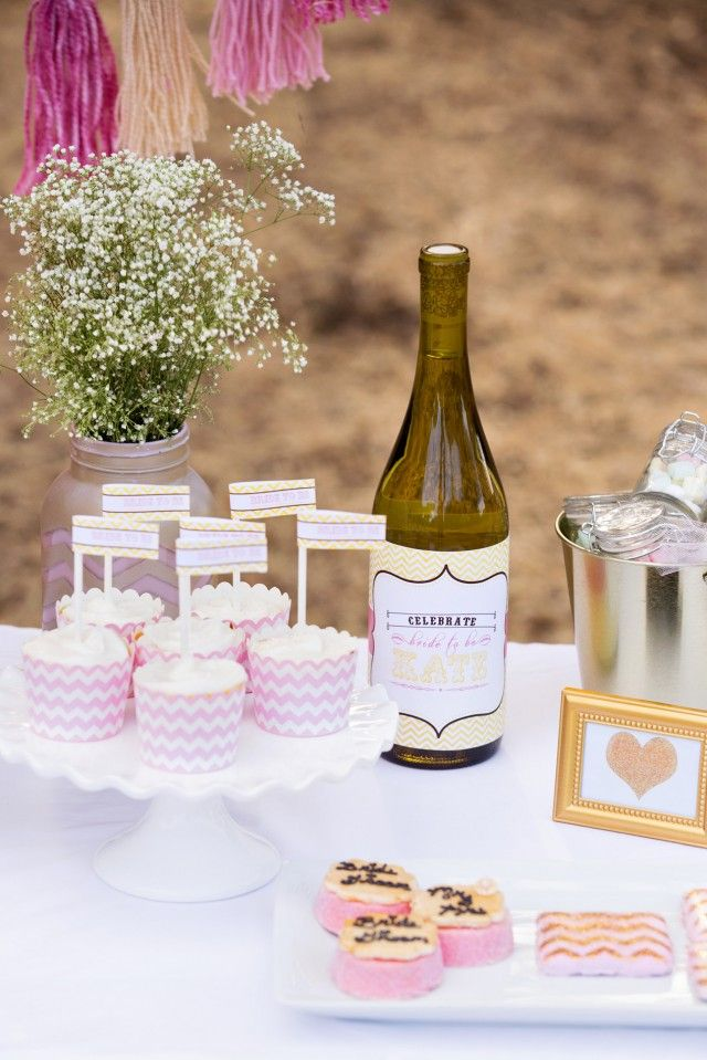 """Pink and Gold Chevron Bridal Shower with Gold Beaded Photo Frame/Place Card Holder by Kate Aspen Photographed by @ktmoffittphotography for @andersruff   