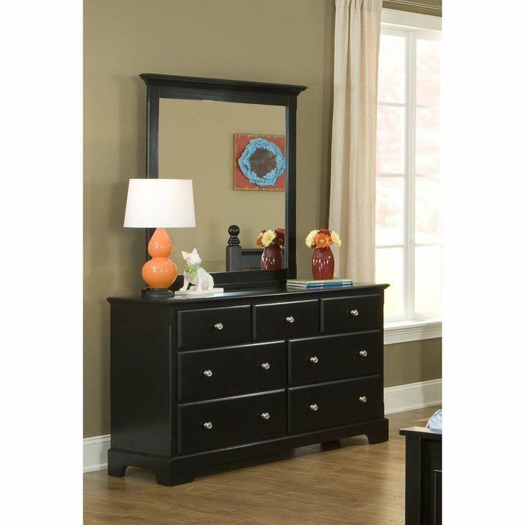 Best Furnituremaxx Morelle Wood Dresser And Mirror Black 400 x 300