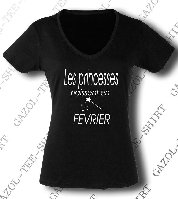 """Tee-shirt """"Les princesses naissent en Février"""" Cadeau anniversaire femme. : T-Shirt, debardeurs par gazol-tee-shirt"""