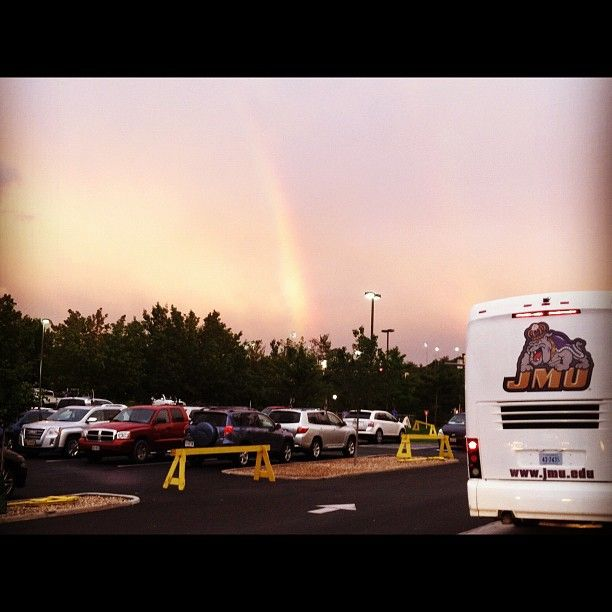 A JMU sports team ready to board the bus and follow the rainbow. that great moment when your boyfriend's picture gets put on pinterest! taken by Andrew Brecher