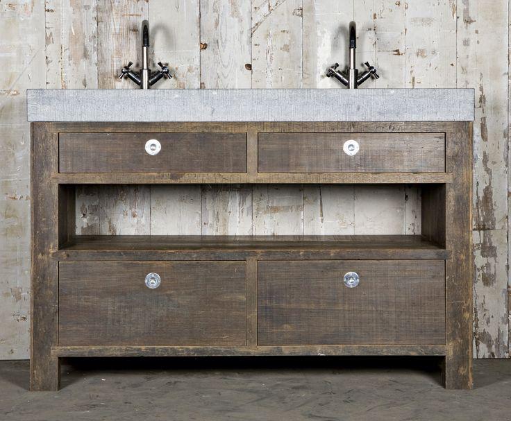 Badkamermeubels op maat gemaakt van oud hout en natuursteen oude bouwmaterialen bij jan van - Badkamermeubels oude stijl ...