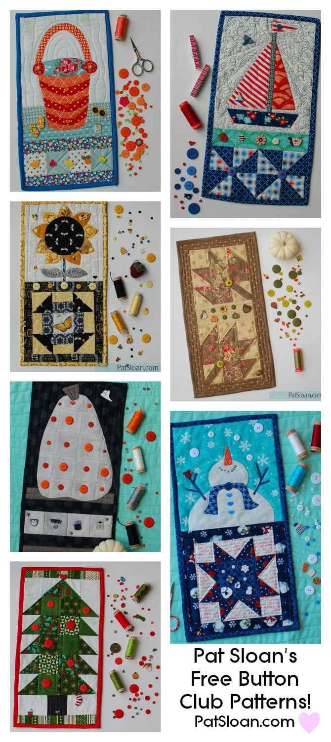 """Pat sloan FREE Quilt banners for the button club pumpkins, snowmen, leaves, saileboats and more! Some with 6"""" quilt blocks. #quilting #diy"""