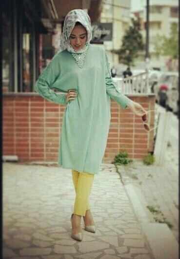 Hulya Aslan  Mint top Yellow pants Hijabi fashion