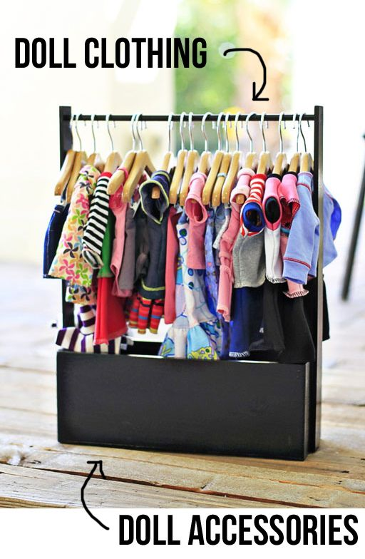 American Girl Clothing Rack via lilblueboo.com #diy #tutorial #americangirl