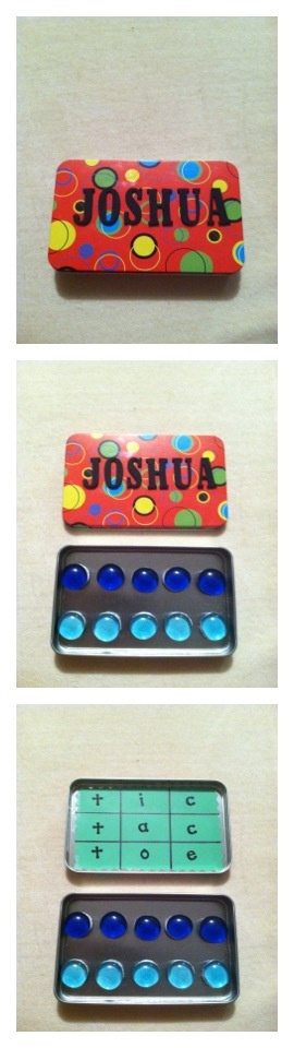 I made this travel tic tac toe for my boyfriend's younger cousin, Joshua.  The actual tin is just a cheap gift card holder from the Dollar Tree!  The green tic tac toe board is a paint sample.  :D