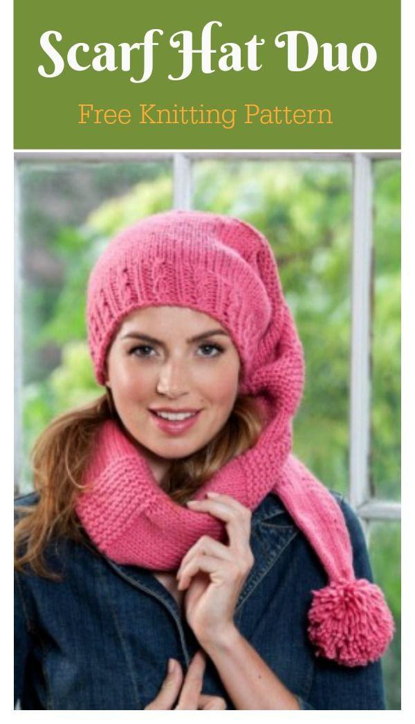 Scarf Hat Duo Free Knitting Pattern Scarf Hat Duo Knitting