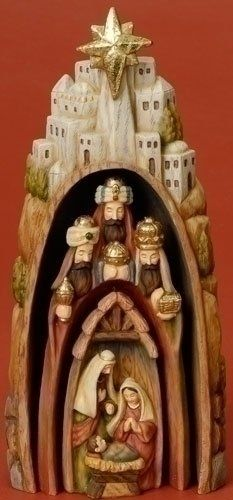 """$49.99-$59.99 9.5"""" Wood Works Religious Holy Family Nesting Christmas Nativity Figure - From the Inspirational Gifts Collection Item #36958 Unique 3-piece nesting figure depicts a classic Nativity scene which can be displayed together or apart Outer piece shows the town of Bethlehem Middle piece shows the 3 Wise Men and their gifts Inner piece shows the Holy Family - Baby Jesus, Mary & Joseph H ..."""