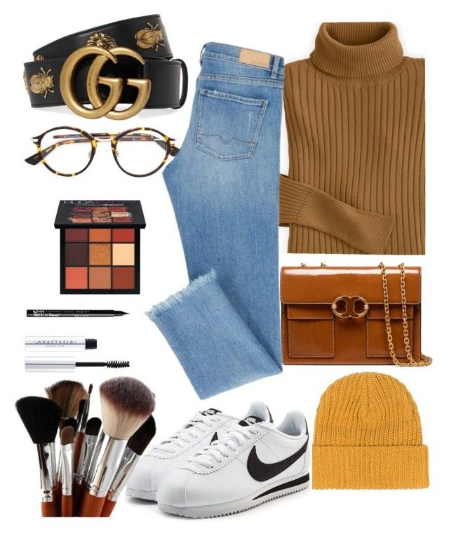 """Untitled #45"" by sin-yasumin on Polyvore featuring Tory Burch, Gucci, Christian Dior, Huda Beauty, NIKE and NYX"