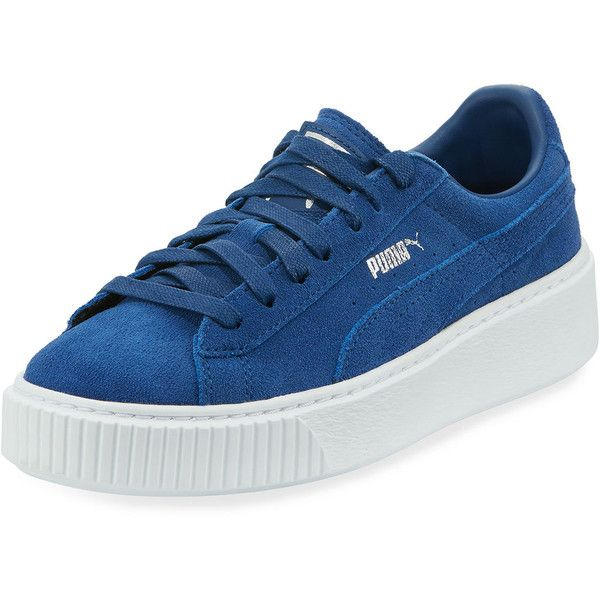 Puma Suede Platform Lace-Up Creeper Sneaker ($60) ❤ liked on Polyvore featuring shoes, sneakers, blue, blue shoes, perforated sneakers, puma creeper, blue suede shoes and platform sneakers
